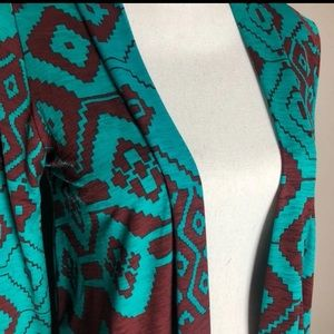 Aztec print teal and brown open cardigan